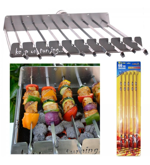 10 Skewer Rotisserie Rack Grill Automatic Rotating Motor Operated BBQ Set